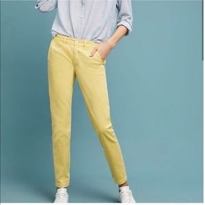 Anthropologie | Yellow Chino Relaxed Ankle Pants
